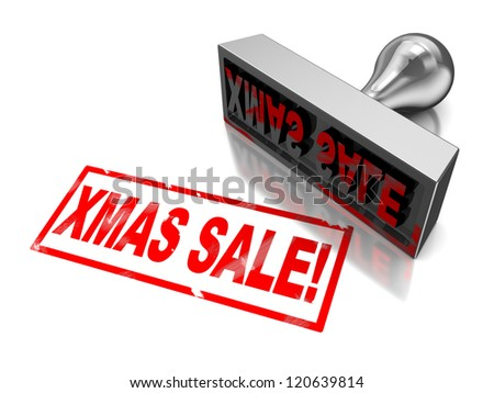 3d illustration of stamp with text xmas sale