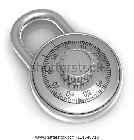 3d illustration of steel combination lock over white background