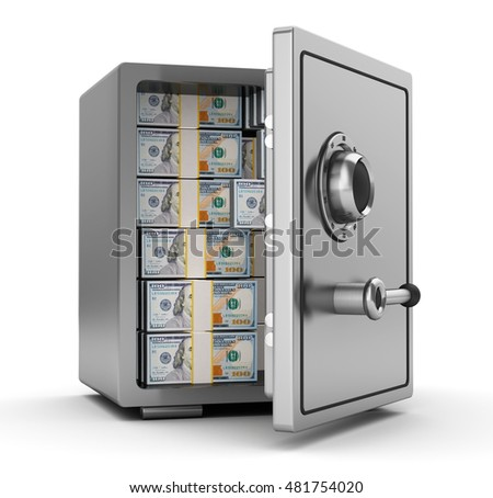 3d illustration of steel safe full of dollars