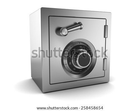 3d illustration of steel safe over white background - stock photo
