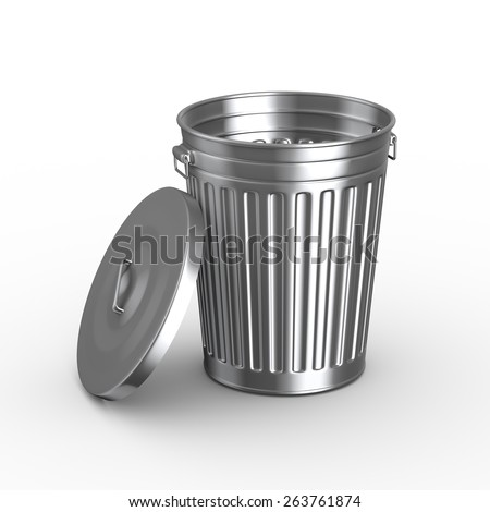 3d illustration of steel shiny metal trash can bin with cover on white background - stock photo