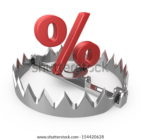 3d illustration of steel trap with percent symbol  - stock photo