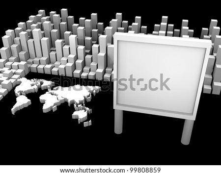 3d illustration of stock trade around the world and a billboard
