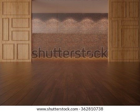 3D illustration of store showcase interior with brick wall
