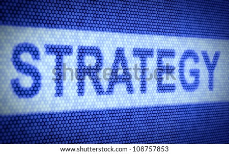 3d illustration of strategy text on computer screen