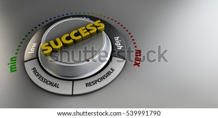 3d Illustration of Success knob button switch. High confidence level concept. Technical design, management modern.