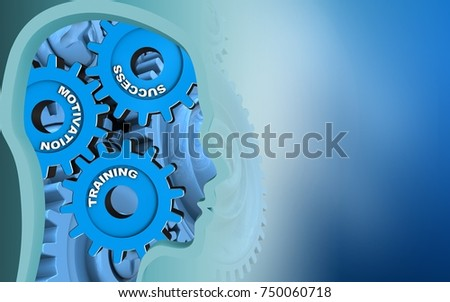 3d illustration of success system over blue background with blue gears