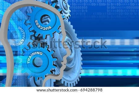 3d illustration of success system over cyber background with blue gears