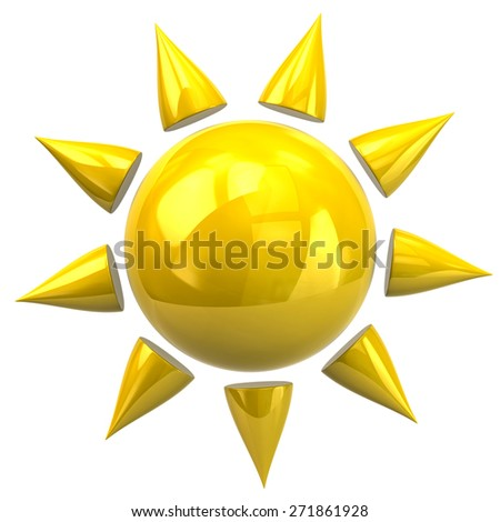 3d illustration of sun icon isolated on white background - stock photo