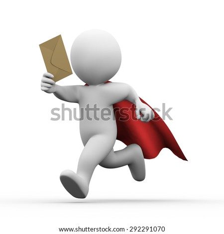 3d illustration of super hero with red cloak running with email envelop.  3d rendering of white man person people character.