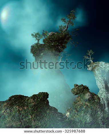 3D Illustration of surreal landscape where it is observed a large rock with lush vegetation in a very cloudy atmosphere