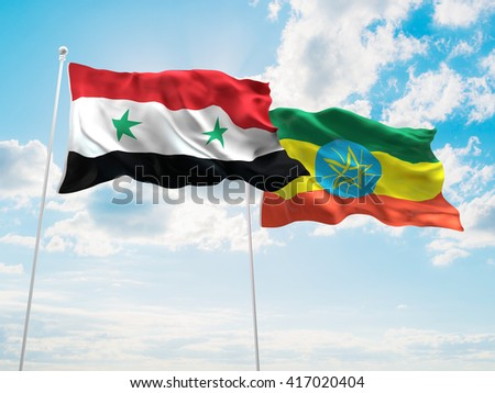 3D illustration of Syria & Ethiopia Flags are waving in the sky - stock photo