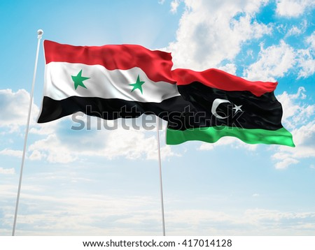 3D illustration of Syria & Libya Flags are waving in the sky - stock photo