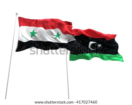 3D illustration of Syria & Libya Flags are waving on the isolated white background - stock photo