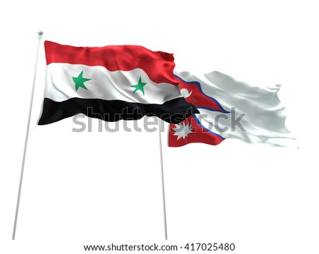 3D illustration of Syria & Nepal Flags are waving on the isolated white background - stock photo