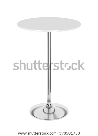 3D illustration of tall bar table isolated on white background