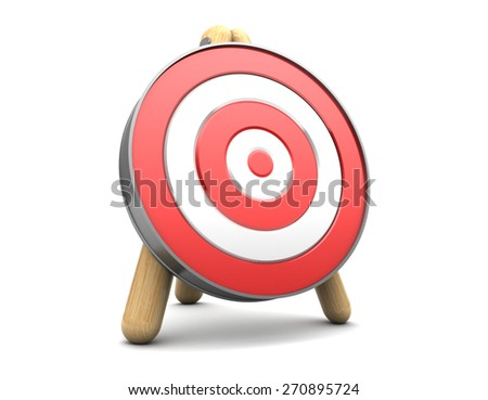 3d illustration of target stand over white background - stock photo