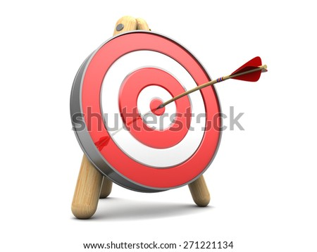 3d illustration of target with arrow in center - stock photo