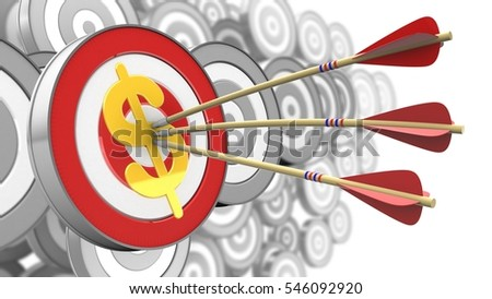 3d illustration of target with arrows and dollar sign over many targets background