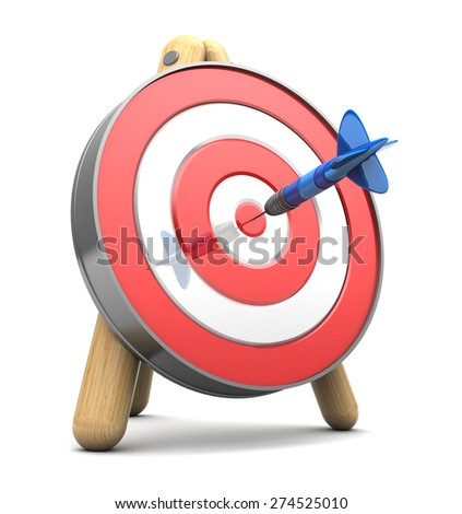 3d illustration of target with blue dart in center - stock photo