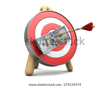 3d illustration of target with hundred dollars banknote and arrow - stock photo