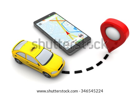 3d illustration of taxi navigation concept, over white background - stock photo