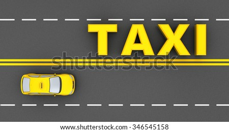 3d illustration of taxi sign and car, over asphalt road background - stock photo