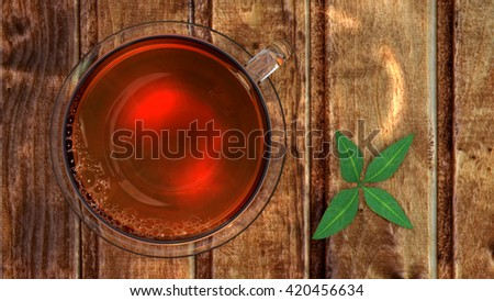 3D illustration of tea in glass cup