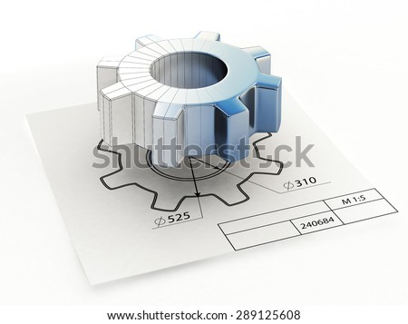 3d illustration of technical drawing blueprint and metal gear isolated on white background - stock photo