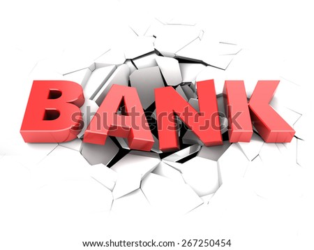 3d illustration of text bank in hole over white background - stock photo
