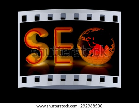 3d illustration of text 'SEO' with earth globe on a black background. The film strip - stock photo