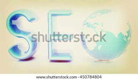 3d illustration of text 'SEO' with earth globe on a white background. 3D illustration. Vintage style. - stock photo