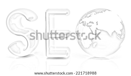3d illustration of text 'SEO' with earth globe on a white background. Pencil drawing - stock photo