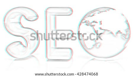 3d illustration of text 'SEO' with earth globe on a white background. Pencil drawing. 3D illustration. Anaglyph. View with red/cyan glasses to see in 3D. - stock photo