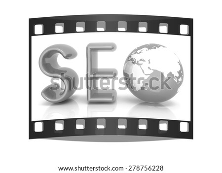 3d illustration of text 'SEO' with earth globe on a white background. The film strip - stock photo