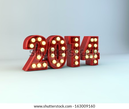 3d illustration of text 2014 with christmas lights - stock photo