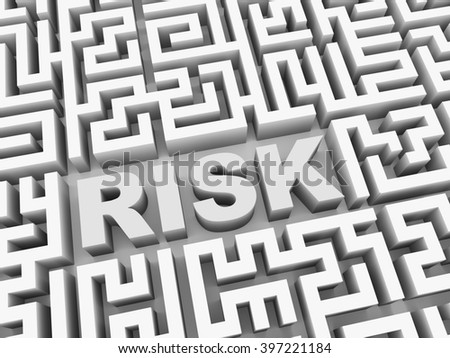 3d illustration of text word risk in complicated puzzle labyrinth maze