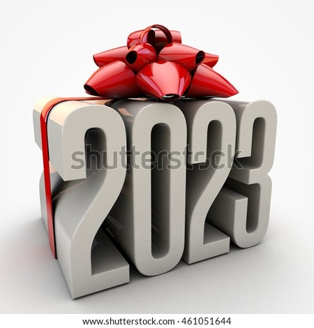3D illustration of 2023  text wrapped up with red ribbon and bow