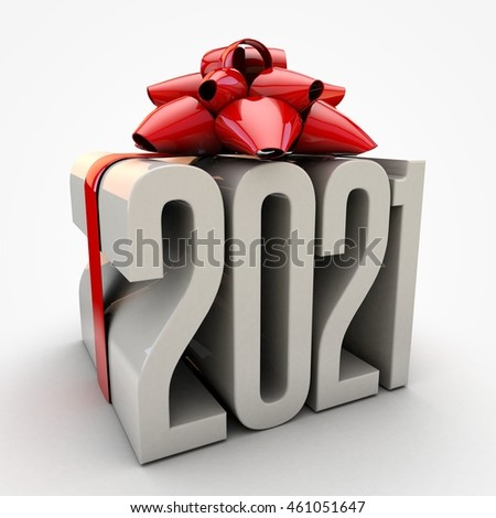 3D illustration of 2021  text wrapped up with red ribbon and bow