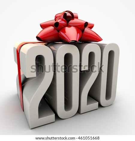 3D illustration of 2020  text wrapped up with red ribbon and bow
