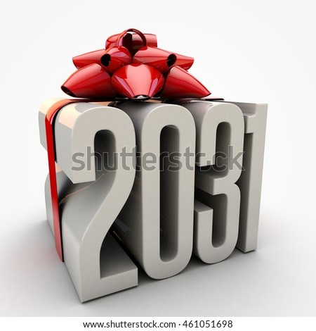 3D illustration of 2031  text wrapped up with red ribbon and bow