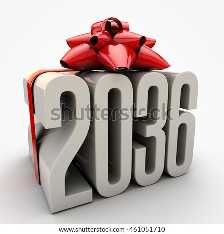 3D illustration of 2036  text wrapped up with red ribbon and bow