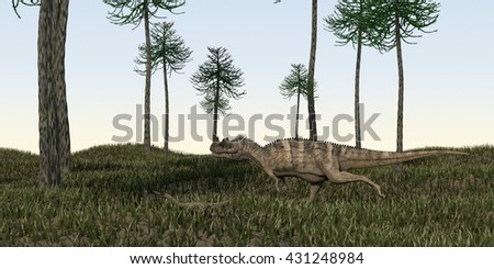 3d illustration of the alluring ceratosaurus  - stock photo