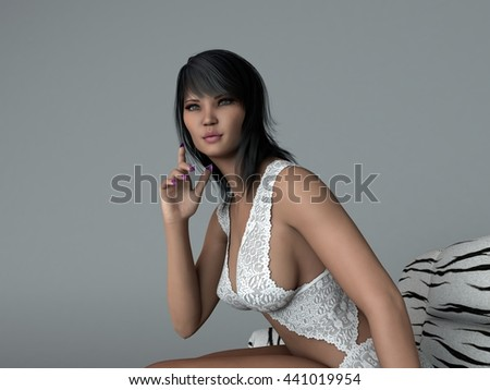 3d illustration of the beautiful asian young woman wearing lingerie posing on sofa - stock photo