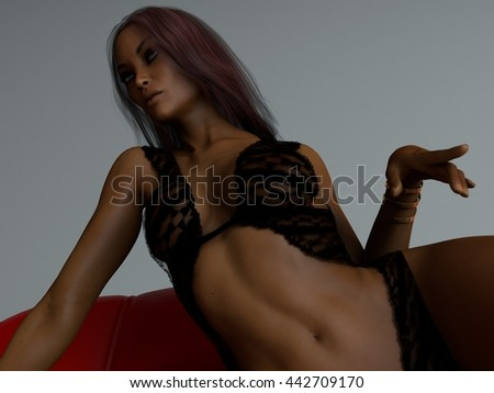 3d illustration of the beautiful mulatto young woman wearing lingerie posing on red sofa - stock photo