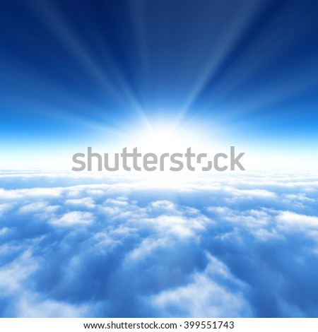 3D illustration of the blue sky and the sea of clouds