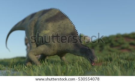 3d illustration of the Brachytrachelopan dinosdaurus