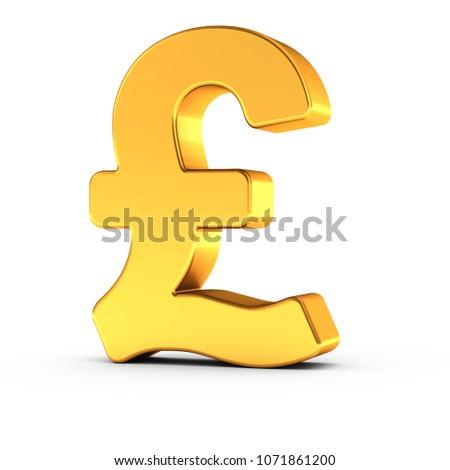 3 D Illustration British Pound Symbol Polished Stock Illustration