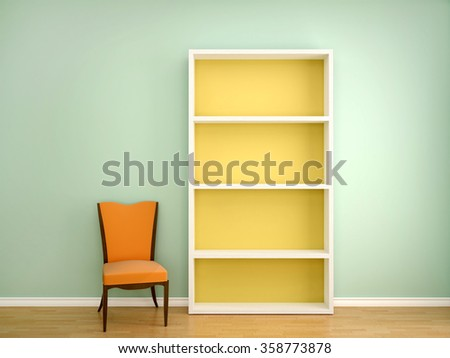 3d illustration of the chair and open the empty shelves of books in the interior - stock photo