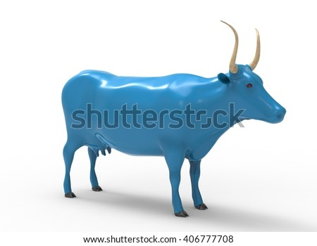 3D illustration of the cow, on white background isolated, with shadow, blue paint - stock photo